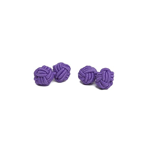 Jacob Alexander Pair of Solid Color Silk Knot Cufflinks - Violet -