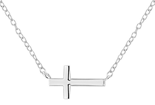 .925 Sterling Silver Sideways Horizontal Cross Childrens Necklace for Kids