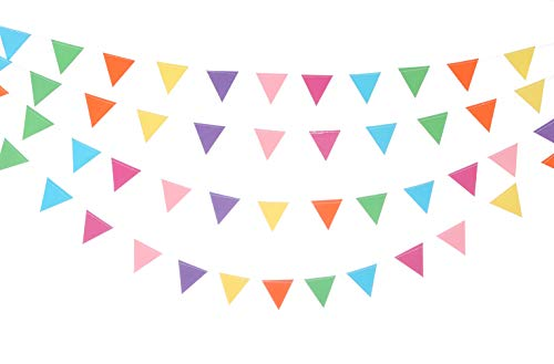 UUPP 26 Feet Multicolor Triangle Flag Paper Bunting Banner Pennant Banners for Wedding Party Hanging Decorations, 2 Sets