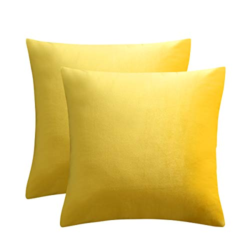 JUSPURBET Velvet Pillow Covers 26x26 Inches,Pack of 2 Throw Pillow Covers for Sofa Couch Bed,Decorative Super Soft Throw Pillows Cases,Yellow