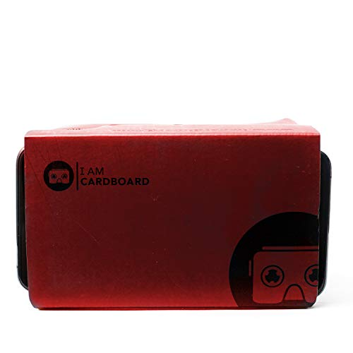 I AM CARDBOARD VR Box | The Best Google Cardboard Virtual Reality Viewer for iPhone and Android | Google Cardboard v2 Headset Inspired | Small and Unique Travel Gift Under 20 Dollars (Red)