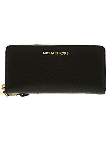 Leather Wallet Set - Michael Kors Jet Set Travel Continental Leather Wallet/Wristlet - Black/Gold