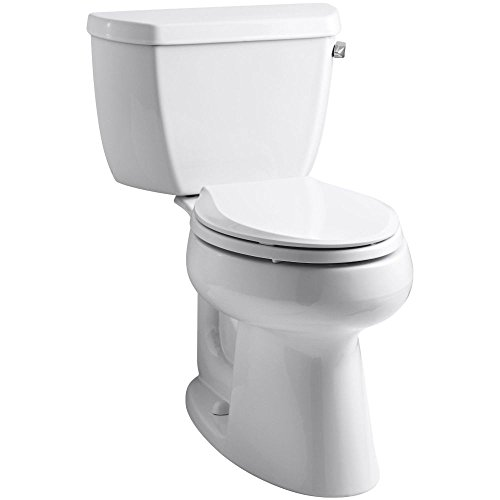 Kohler 3658-RA-0 White Elongated Comfort Height Two Piece Toilet with Right Hand Trip Lever from the Highline Collection ()