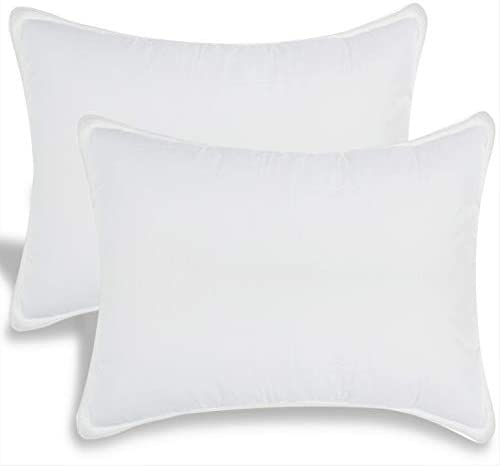 White Classic Bed Pillows for Sleeping | Down Alternative Luxury Hotel Pillow NO Flattening | 2 Pack | King Size