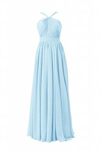 Daisyformals Longue Robe De Demoiselle D'honneur En Mousseline De Soie Licol Robe De Soirée Longue (bm5195l) N ° 40 Bleu-glace