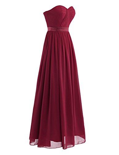 iEFiEL Vestido de Boda Cóctel para Mujer Chica Vestido Plisado Largo para Dama de Honor Vestido de Noche Vino