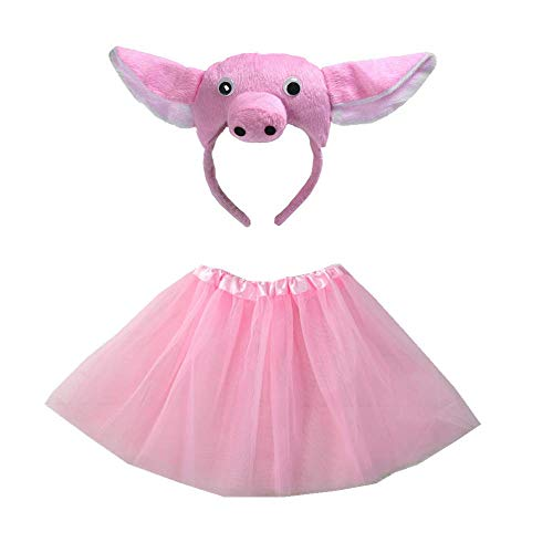 Kids Girls Cute Animal Headband with Tutu Skirt Party Costume Headband Set Cosplay (Pig)]()