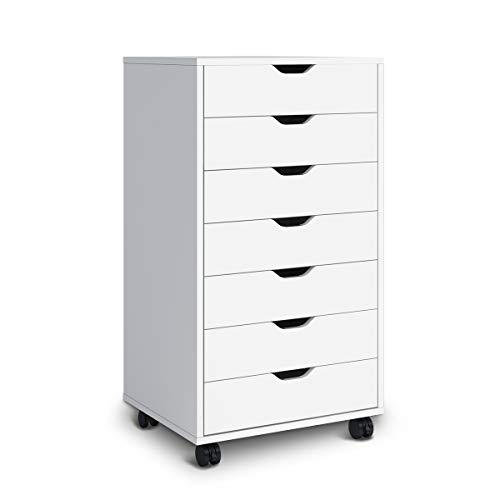 - DEVAISE 7 Drawers Chest Storage Dresser Cabinet with Removable Wheels (Classic Style-White)