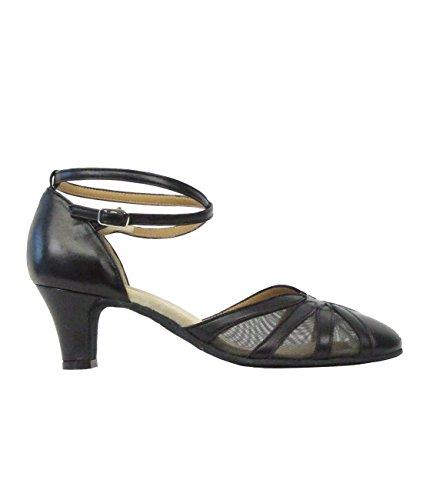 9294 Rumpf Damen Tanzschuhe Latein Salsa Rumba Tango Ballroom Schuhe Material Leder, Chromledersohle Absatz 5,5 cm, Made in Italy Schwarz