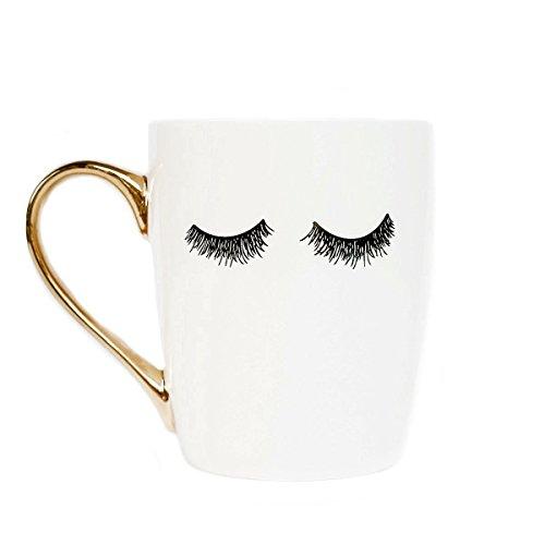Sweet Water Decor Eyelashes Coffee Mug with Gold Handle | Tea & Coffee Mugs For Women - Inspirational Gifts For Women, 16 fl. oz (White)