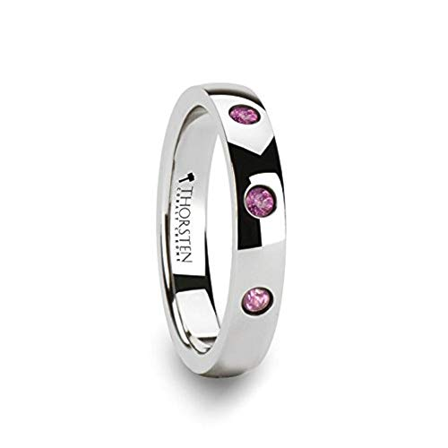 Thorsten Diana | Tungsten Rings for Women | Tungsten | Comfort Fit | Domed Cobalt Chrome Wedding Ring Band with 3 Pink Sapphires - 4mm ()