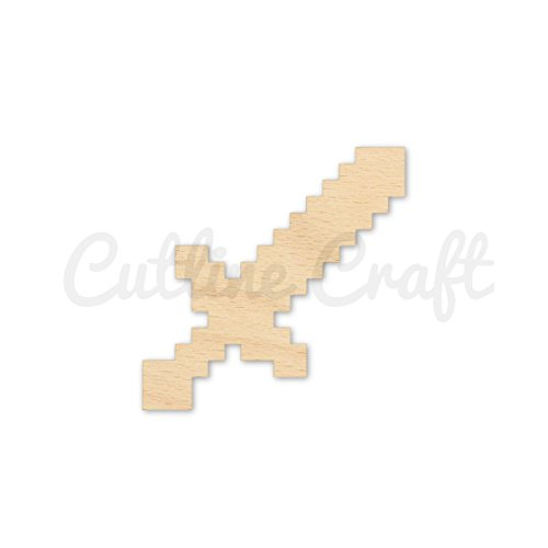 8 Bit Sword Style 1413, Wooden Cutouts, Crafts Embellishment, Gift Tag or Wood Ornament