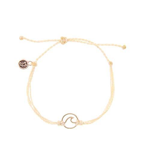 Pura Vida Rose Gold Wave OG Cream Bracelet - Plated Charm, Adjustable Band - 100% Waterproof from Pura Vida