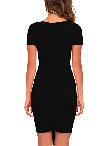 Women Bodycon Dress Party Casual V Neck Ruched Wrap Pencil Cocktail Dresses 258 (Black Short, XL) by BOKALY (Image #1)