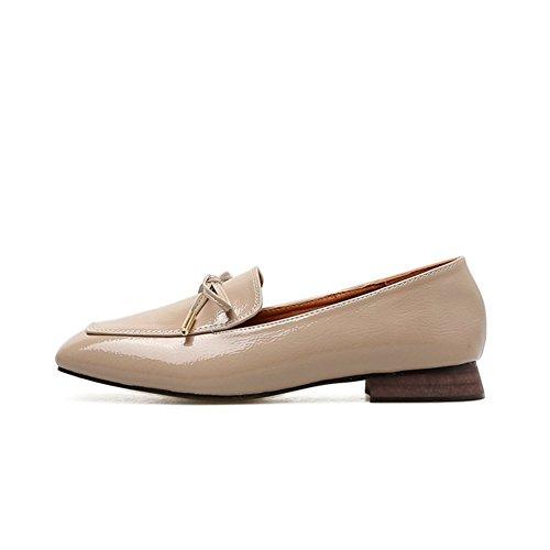 T-july Donna Moda Oxford Scarpe - Casual Tacco Basso Punta Quadrata Scivolare Su Scarpe Classiche Albicocca
