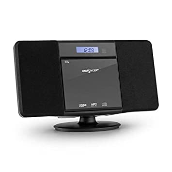Bass Boost Remote Control LCD Display Folder Navigation OneConcept V-13 FM Radio Micro System Stereo Compact System Aux-in Alarm Black Mp3 Cd reader Wall Mount