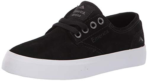 Emerica Boys' The Romero Laced Youth Skate Shoe, Black/White/Gum, 3c Medium US Big Kid