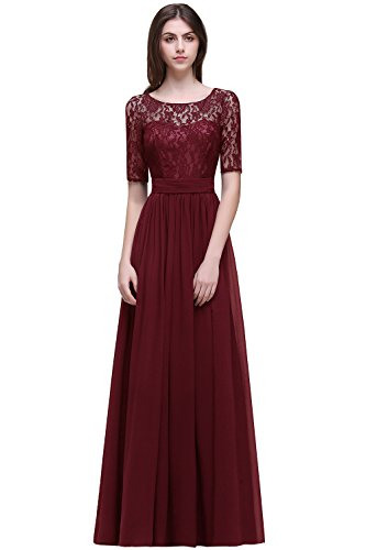 Women Lace Mother of The Bride Dresses Formal Evening Gown,Burgundy,Size 16