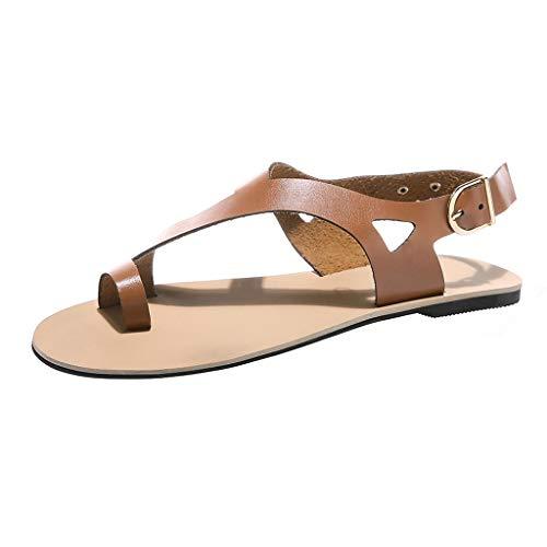Orangeskycn Women Sandals Soft Gladiator Sandals Beach Casual Summer Shoes Flat Sandals Beach Shoes Brown
