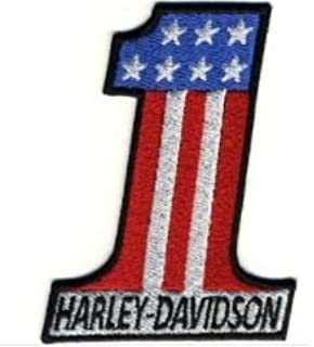 Patch Parche Bordado Termoadhesivo Harley Davidson Number One cm.