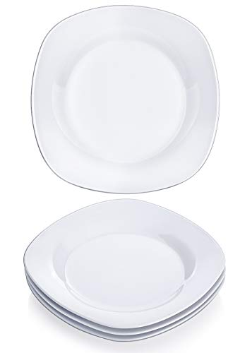 - Y YHY 7.3 Inches Porcelain Appetizer Plate Set, White Square Dessert Plates, Set of 4