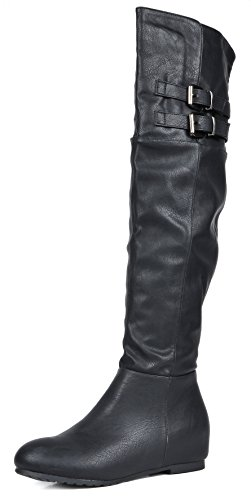 DREAM PAIRS Women's Newtown Black Pu Over The Knee Thigh High Winter Boots Size 7 M ()