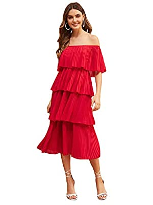 Milumia Women's Casual Off Shoulder Foldover Pleated Ruffle Tiered Chiffon Party Long Maxi Dress
