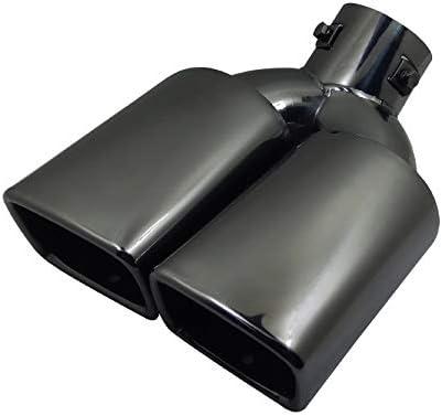 Tyne 63 76mm Auspuffblende Auspuffblende Universal Auspuffblende Edelstahl Auspuffblende Doppelrohr Auspuffblende Gebogen Drei Farben Optional Black 63mm Auto