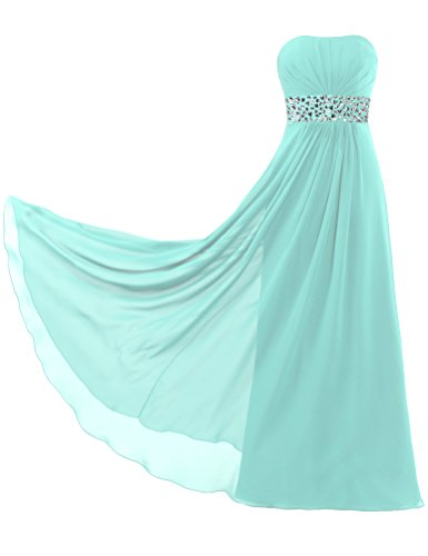 Dresses Cyan ANTS Satin Belt Strapless Evening Chiffon Women's Bead Long rqpz8r