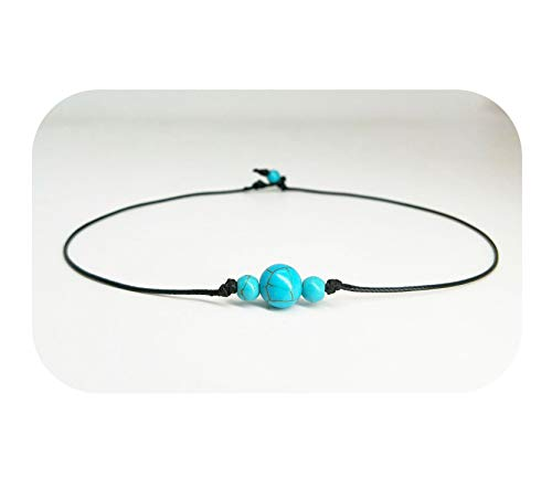 Freshwater Blue Pearl Beads - Hundred River Pearl Choker Necklace Single Leather for Women  (Blue 3)