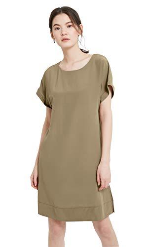 (LilySilk Silk Shift Dress for Women Short Sleeve Side Spilt Summer Cool Elegant Long -Dark Khaki-S)