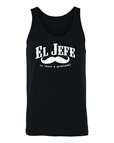 EL Jefe -The Boss In Spanish Mustache Funny Mexican Men's Tank Top (x-Large) ()