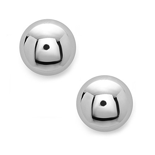 Earring Button Silver - 14mm Sterling Silver Half Ball Moon Hypoallergenic Stud Earrings (Available in 10mm,12mm &14mm) - 100% Hypoallergenic and Nickel Free