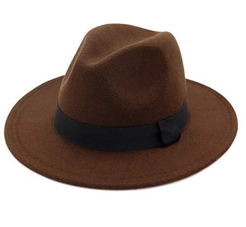 Lanzom Women Wide Brim Warm Wool Fedora Hat Retro Style Belt Panama Hat (Coffee, One Size)]()