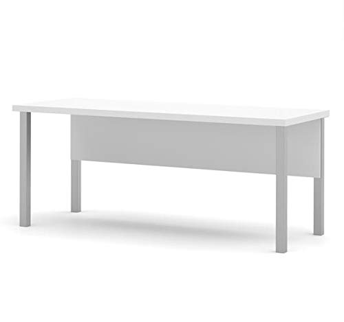 Modern 71'' Executive Desk in White with Metal Legs