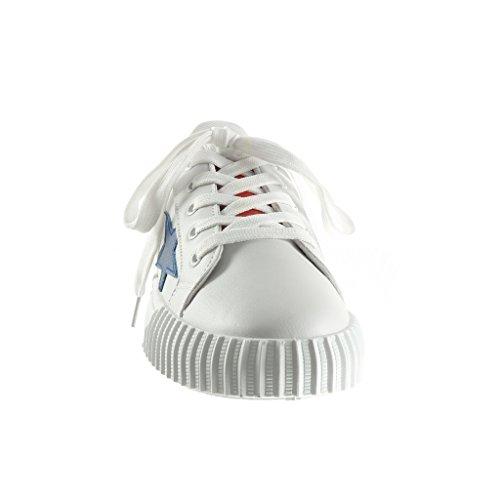 Angkorly - Scarpe da Moda Sneaker Tennis zeppe donna stella Tacco zeppa piattaforma 2.5 CM - Rosso