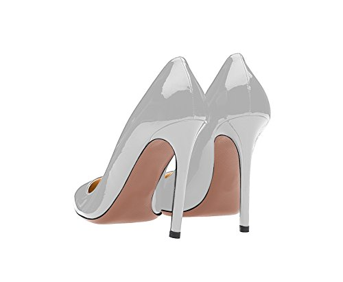 Guoar Dames Stiletto Big Size Schoenen Puntige Teen Dames Stevige Pumps Voor Werk Prom Dress Party B-grey Patent