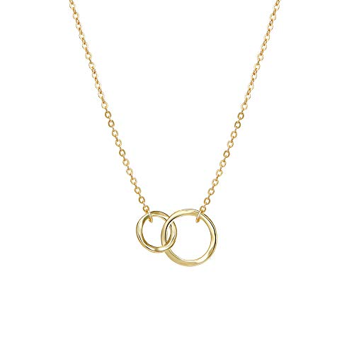 Gold Linked Rings Sister Necklace Dainty 14K Gold Filled Hammered Minimalism Style Unity Linked Double Rings Sisters Delicate Infinity Pendant Necklace Friendship Jewelry Gift (Gold Ring Necklace)