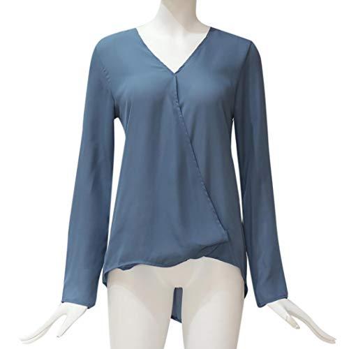 Shirt Col Femme V Chemise Dame Casual Pullover Tops Solike Blouse pour Automne Shirts ciel de en T Printemps Bleu Chic Longues Bureau Manches zxSSqpw