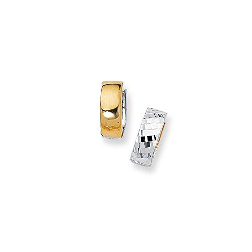 - 14K Yellow+White Gold Diamond Cut Shiny 5mm Two Tone Snuggable Earrings with Diamonds Pattern by IcedTime