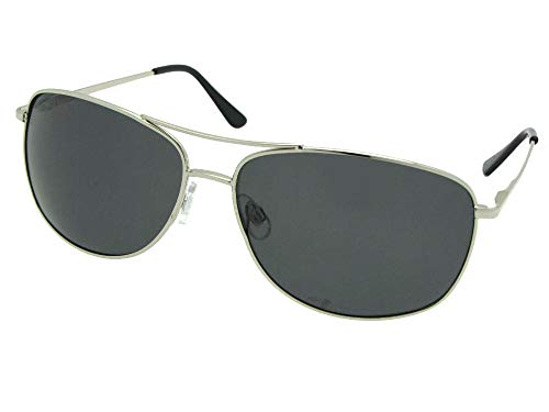Style PSR8 Modified Aviator Polarized Sunglasses With Sunglass Rage Pouch (Silver Frame-Gray Lenses)