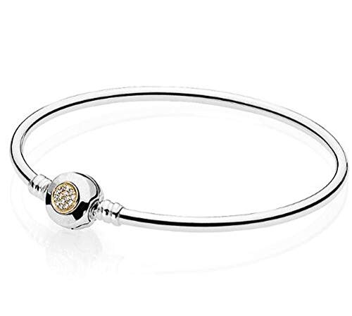 - 925 Sterling Logo Moments Two-Tone Signature Snake Chain Bracelet Bangle | Fit Bead Charm Europe Jewelry (20cm)