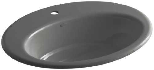 (KOHLER K-2907-1-58 Thoreau Self-Rimming Bathroom Sink with Single-Hole Faucet Drilling, Thunder Grey)