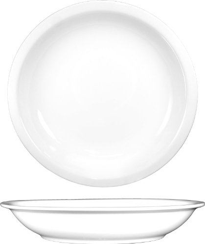 ITI BL-105 Bristol Porcelain 14-Inch Fine Porcelain Salad/Pasta Bowl, 106-Ounce, Bright White, 6-Piece by ITI
