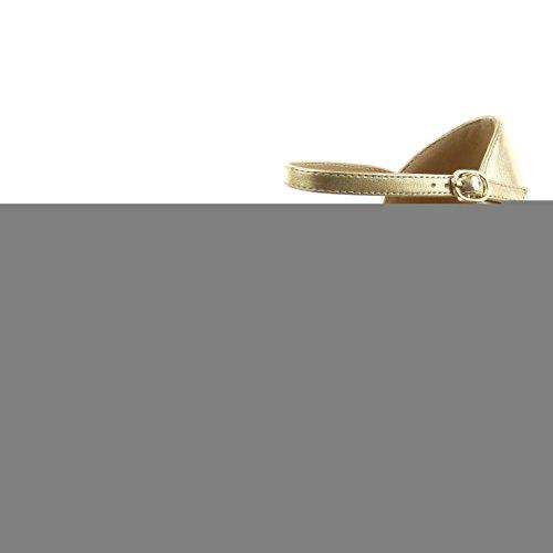 Sopily - Scarpe da Moda scarpe decollete aperto alla caviglia donna fishnet Tacco Stiletto tacco alto 5 CM - soletta sintetico - Oro