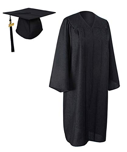 GraduationForYou Unisex Adult Matte Graduation Gown Cap with Tassel 2019 Black