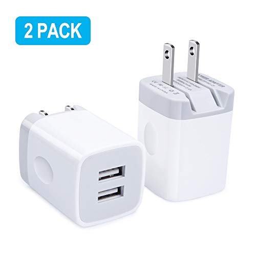 USB Wall Charger, Foldable Charger, 2Pack 2.4A Quick Dual Port Charger Cubes Box with Foldable Plug Compatible for iPhone 8/X/7 Plus/6s Plus, Samsung Galaxy S10 S10e S9 S8 Plus S7 Note 9/8, Moto G7 G6