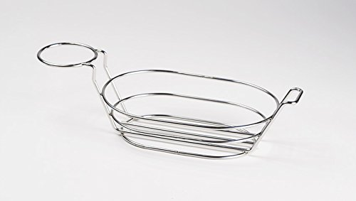 G.E.T. Enterprises 4-91630 9'' x 6'' Oval Basket 3.5'' Clipper Mill, Stainless Steel (Sauce Cups Sold Separately)