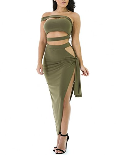 Army Of Two Outfit (Glamaker Women's Party Clubwear 2 Piece Sexy Outfits Bodycorn Mini Bandage Crop Dresses Set M 4/6 Army Green)