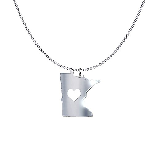 Minnesota State Sterling Silver Charm - mmandiDESIGNS Minnesota State Heart Pendant Necklace - Solid .925 Etched Sterling Silver Gift